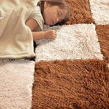 KKCF Nettes quadratisches seidiges Spleißen Ma, Wohnzimmer Carpret, Fußboden-Matte, Schlafzimmer-Wolldecke-Auflage Anti-Rutsch ( farbe : Brown3cm , größe : 60*60cm )