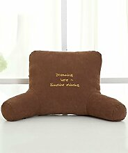 KKCFDIAN Baumwolle Bedside Kissen Bett Rückenlehne Kissen Bedside Big Kopfteil Kissen waschbar ( Farbe : Braun , größe : 63*40*22cm )