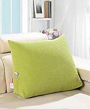 KKCFDIAN Baumwolle Bedside Kissen Bett Rückenlehne Kissen Lendenwirbel Kissen für Bedside, Stuhl, Auto, Sofa waschbar ( Farbe : Grün , größe : 60*50*22cm )