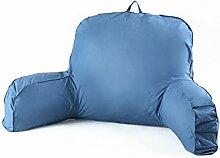 KKCFDIAN Baumwolle Bedside Kissen Bett Rückenlehne Kissen Lendenwirbel Kissen für Bedside, Stuhl, Auto, Sofa waschbar ( Farbe : Blau )