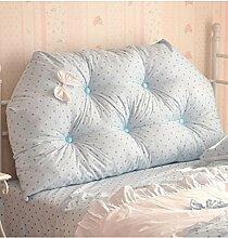 KKCFDIAN Bettseite Rückenlehne Baumwolle Bett Kissen Doppelbett Rückenlehne Kissen Bedside Big Kopfteil Kissen Waschbar ( Farbe : Blau , größe : 1.8m )