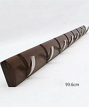KKCFJIA Mauer Hinter der Tür Kleiderbügel Massivholz Garderobenständer Kreativ Wohnzimmer Kleiderhaken (Farbe : Braun, größe : 8 hooks)