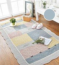KKCFTAN Baumwolle Haushalt rechteckige Fußmatten Pastoral Schlafzimmer leben Rom Teppich ( farbe : H , größe : 70*210cm )