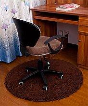 KKCFTAN Computer Stuhl Chenille Matte Fuß Teppich Schlafzimmer Haushalt Kissen Runde Matten ( farbe : Braun , größe : 1.2m )