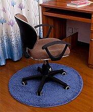 KKCFTAN Computer Stuhl Chenille Matte Fuß Teppich Schlafzimmer Haushalt Kissen Runde Matten ( farbe : Blau , größe : 0.8m )