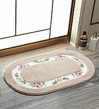 KKCFTAN Fußmatten Absorbent Matten Fußmatte Küche Schlafzimmer Runde Anti-Rutsch-Fuß Teppich Teppiche Türmatten Fußpolster (Farbe : Grau, größe : 50*80cm)