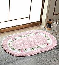 KKCFTAN Fußmatten Absorbent Matten Fußmatte Küche Schlafzimmer Runde Anti-Rutsch-Fuß Teppich Teppiche Türmatten Fußpolster ( Farbe : Pink , größe : 50*80cm )