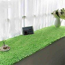 KKCFTAN Fußmatten Chenille verdickte Bucht-Fenster-Matten-Balkon-rutschfeste Fuß-Wolldecke-Nachttisch-Fußboden-Matten Teppiche Türmatten Fußpolster ( Farbe : Grün , größe : 90*210cm )