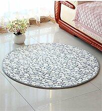 KKCFTAN Fußmatten Einfache runde rutschfeste Computer Stuhl Matte Schlafzimmer Nachttisch Matte Teppich Teppiche Türmatten Fußpolster (Farbe : D, größe : 0.9*0.9M)
