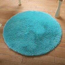 KKCFTAN Fußmatten Europäische Rund Silk Wolldecke-Auflage für Wohnzimmer, Kaffee, Tisch, Teppich, Schlafzimmer, Bettvorleger Pad, Computerstuhl, Yoga-Matte Teppiche Türmatten Fußpolster ( Farbe : Blau , größe : 120cm )