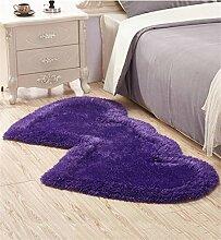 KKCFTAN Fußmatten Lovely Double Heart Teppich Wohnzimmer Couchtisch Schlafzimmer Teppich Nachttisch Teppichboden Matte Teppiche Türmatten Fußpolster ( Farbe : C , größe : 71*141CM )