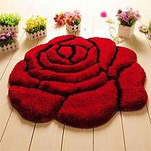 KKCFTAN Fußmatten Matte runde rutschfeste Fuß Teppich Teppich Wohnzimmer Schlafzimmer saugfähige Fuß Teppich Teppiche Türmatten Fußpolster (Farbe : Rot, größe : 90*90cm)
