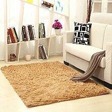 KKCFTAN Fußmatten Moderne im europäischen Stil Home Hand waschbar Rectangular Teppich für Wohnzimmer, Kaffee, Tisch, Schlafzimmer, Bett-Teppich-Auflage, Kundenbezogenheit, kakifarbige lange Haar-Matten Teppiche Türmatten Fußpolster ( größe : 0.7*1.6m )