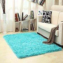 KKCFTAN Fußmatten Moderne im europäischen Stil Home Handwaschbare rechteckige Teppich für Wohnzimmer, Kaffee, Tisch, Schlafzimmer, Bett-Teppich-Auflage, Kundenbezogenheit, langhaarige blaue Matten Teppiche Türmatten Fußpolster ( größe : 1.2*2.0m )