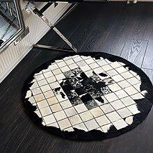 KKCFTAN Fußmatten Stitching Runde Teppich, Villa Clubhouse Hotel Wohnzimmer Luxus-Teppich (sieben-Farben optional) Teppiche Türmatten Fußpolster ( Farbe : A , größe : 1.2m )