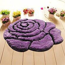 KKCFTAN Matte runde rutschfeste Fuß Teppich Teppich Wohnzimmer Schlafzimmer saugfähige Fuß Teppich ( farbe : Lila , größe : 90*90cm )