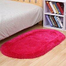 KKCFTAN Modern Einfache Dicke Ovale Schlafzimmer Bedside Mat Wohnzimmer Couchtisch Teppich Fuß Teppich ( farbe : E , größe : 70*140CM )