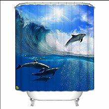 KKLL Duschvorhang 3D Dolphin verdickter wasserdichter Mehltau Badezimmer Persönlichkeit Dekoration Wärmedämmung Trennwand Occlusion Vorhang , 1 , 180*200cm
