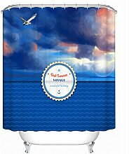 KKLL Duschvorhang Polyester Persönlichkeit Dekoration verdickter wasserdichter Mehltau Badezimmer abgeschnitten Gardinenaufhängemittel , 180*180cm
