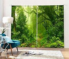 KKLL gardinen Blackout 3D grüne Dschungel