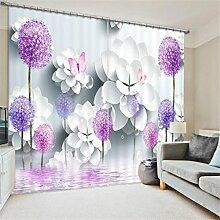 KKLL Gardinen Polyester Blumen 3D Stereo Vision Digitaldruck Stoffe Blackout Insulated Lärmminderungsmassiv Thermal Schlafzimmer Schiebegardine Home Decor Fenster Vorhänge , 2 , wide 2.64x high 1.6