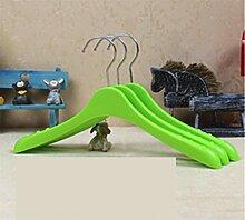 KKLL Kind Kunststoff Grün Gelb Aufhänger Anti Skid Kleiderbügel Familie Lagerung Kleidung Display-Kleiderbügel (Packung mit 10) , green