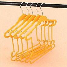 KKLL Kinder Kleiderbügel aus Kunststoff Conjoined Flexible Multi Purpose tragbare Kleidung Trockengestelle (Packung mit 20) , yellow , 25*29*38.5cm
