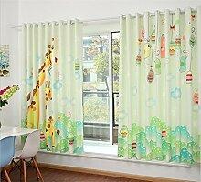 KKLL Kinder Leinenvorhänge Velvet 3D Cartoon Giraffe Digitaldruck Stoffe Blackout Lärm reduzierte Falte Fenster Vorhänge zu den Deckenfenstern Schiebegardine Wohnzimmer Schlafzimmer Stock (2 Platten) , 1 , F