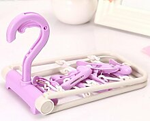 KKLL Kleiderbügel Portable faltbare Kunststoff rutschfest Multi Purpose 10 clips Magic Hangers(pack of 5) , purple