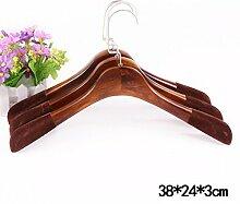 KKLL Kleiderbügel Retro Holz Beflockung Sturdy Nicht verrutschen Durable overstriking Erwachsener Anzug Kleiderbügel (Packung mit 10) , 3