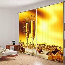 KKLL Polyester 3D Champagner Weinglas Individualität Digitaldruck Blackout Lärm Reduzierung Gelb Vorhänge Schlafzimmer Dekorieren Panel Vorhang Fenster Vorhänge , wide 2.03x high 1.6