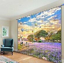 KKLL Vorhänge 3D Polyester Gelb Lila Pflanze Naturlandschaft Digitaldruck Blackout Lärm Reduzierung solide thermische Fenster drapiert Tafeln für Schlafzimmer , 3 , wide 2.64x high 1.6