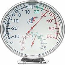 KKmoon -30 ~ 60 ° C Edelstahl Thermometer Hygrometer, Temperatur Feuchtigkeitsmesser Analoges Ziffernblatt mit Halter