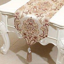 KKY-ENTER Beige Blumenmuster Tischläufer Einfache Mode Tischdecke Couchtisch Stoff Bett Flagge Schrank Flagge Tischplatte Lange Tischdecke (nur Verkauf Tischläufer) 33 * 150cm