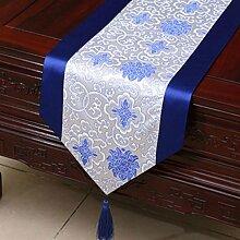 KKY-ENTER Blau Klassische Retro Muster Tischläufer Tischdecke Couchtisch Stoff Bett Flagge Schrank Flagge Tischplatte Lange Tischdecke (nur Verkauf Tischläufer) 33 * 150cm