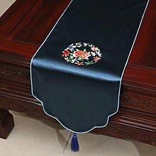 KKY-ENTER Blaue Stickerei Pastoral Tischläufer Seide Satin Tischdecke Couchtisch Stoff Bett Flagge Schrank Flagge Tischplatte Lange Tischdecke (nur Verkauf Tischläufer) 33 * 150cm