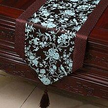 KKY-ENTER Brown und Blau Klassik Retro Muster Tischläufer Tischdecke Couchtisch Stoff Bett Flagge Schrank Flagge Tischplatte Lange Tischdecke (nur Verkauf Tischläufer) 33 * 230cm