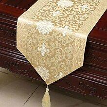 KKY-ENTER Creme Farbe Klassische Retro Muster Tischläufer Tischdecke Couchtisch Stoff Bett Flagge Schrank Flagge Tischplatte Lange Tischdecke (nur Verkauf Tischläufer) 33 * 230cm