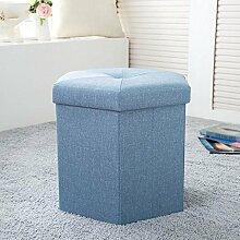 KKY-ENTER Einfache und stilvolle Aufbewahrung Hocker Leinen Aufbewahrungsbox Multifunktions Sofa für Schuh Hocker, 40 * 35 * 35cm ( Farbe : Blau )