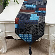 KKY-ENTER Gitter Muster gemischte Farbe Tischläufer Einfache moderne Tischdecke Couchtisch Stoff Bett Flagge Schrank Flagge Tisch Matte Leinwand (nur Verkauf Tischläufer) 33 * 200cm