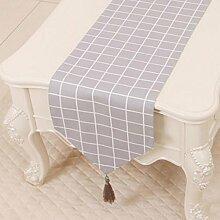 KKY-ENTER Grau Gitter Muster Tischläufer Einfache Garten Tischdecke Couchtisch Stoff Bett Flagge Schrank Flagge Tisch Matte Lange Tisch Stoff Leinwand (nur Verkauf Tischläufer) 33 * 230cm
