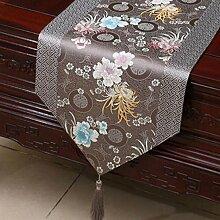 KKY-ENTER Grau Klassische Retro Muster Tischläufer Tischdecke Couchtisch Stoff Bett Flagge Schrank Flagge Tischplatte Lange Tischdecke (nur Verkauf Tischläufer) 33 * 300cm