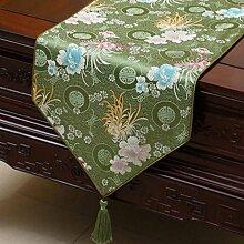 KKY-ENTER Green Table Runner Pastoral Tischdecke Couchtisch Stoff Bett Flagge Schrank Flagge Lange Tisch Tischdecke (nur Verkauf Tischläufer) 33 * 230cm
