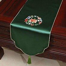 KKY-ENTER Grüne Stickerei Pastoral Tischläufer Seide Satin Tischdecke Couchtisch Stoff Bett Flagge Schrank Flagge Tischplatte Lange Tischdecke (nur Verkauf Tischläufer) 33 * 150cm