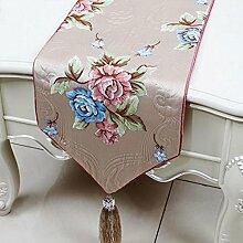 KKY-ENTER Hellrosa Blumenmuster Tischläufer Einfache Mode Tischdecke Couchtisch Stoff Bett Flagge Schrank Flagge Tischplatte Lange Tischdecke (nur Verkauf Tischläufer) 33 * 230cm