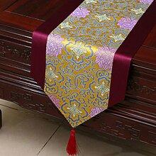 KKY-ENTER Lila Blumenmuster Pastoral Tischläufer Tischdecke Couchtisch Stoff Bett Flagge Schrank Flagge Tischplatte Lange Tischdecke (nur Verkauf Tischläufer) 33 * 150cm