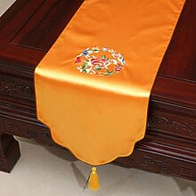 KKY-ENTER Orange Stickerei Pastoral Tischläufer Seide Satin Tischdecke Couchtisch Stoff Bett Flagge Schrank Flagge Tischplatte Lange Tischdecke (nur Verkauf Tischläufer) 33 * 150cm