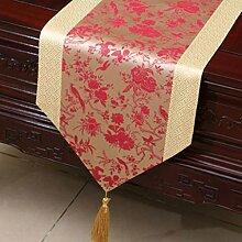 KKY-ENTER Red Beige Klassik Retro Muster Tischläufer Tischdecke Couchtisch Stoff Bett Fahne Schrank Flagge Tischplatte Lange Tischdecke (nur Verkauf Tischläufer) 33 * 200cm