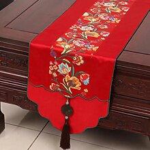 KKY-ENTER Red Table Runner Pastoral Jacquard Tischdecke Couchtisch Stoff Bett Flagge Schrank Flagge Lange Tisch Tischdecke (nur Verkauf Tischläufer) 33 * 230cm