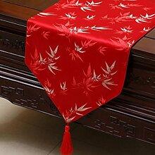 KKY-ENTER Red Table Runner Pastoral Tischdecke Couchtisch Stoff Bett Flagge Schrank Flagge Lange Tisch Tischdecke (nur Verkauf Tischläufer) 33 * 300cm